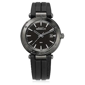 Michel Herbelin | Mens Newport | Black Rubber Strap | Black Dial | 12288/G33CA Watch
