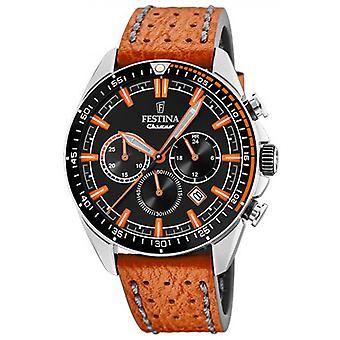 Originale F20377-4 Festina Watch - Stahl schwarz blaue Naht Leder Armband ORANGE Mann