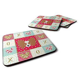 Carolines Treasures  CK5224FC Set of 4 Papillon Love Foam Coasters Set of 4