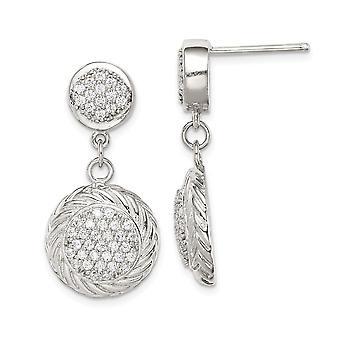 925 Sterling Silver Cubic Zirconia Circle Dingle Øreringe smykker Gaver til kvinder