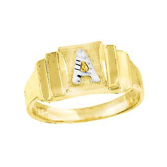 10k Two tone Gold baby voor jongens of meisjesLetter Naam Gepersonaliseerde Monogram Initial a Band Ring Measures 6.3x2.50mm Wide S