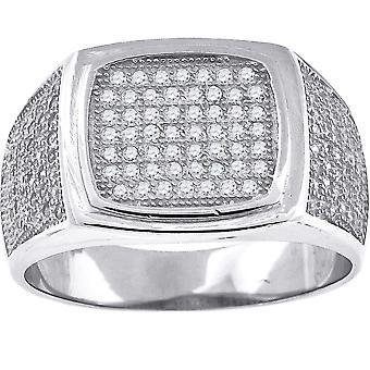 925 Sterling Gümüş Mikro Pave CZ Kübik Zirkonya Simüle Diamond Mens Fashion Ring Band Takı Hediyeler Erkekler için - Ring S