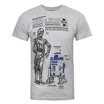 ヘインズマニュアルスターウォーズC3POとR2D2メン&アポ;s Tシャツ
