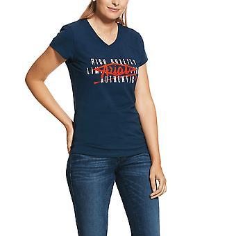 Ariat Womens Crop Logo Short Sleeved T-shirt - Deep Petroleum