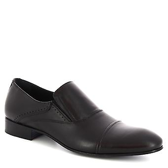 Leonardo Shoes Men's handmade classy loafers shoes in black calf leather
