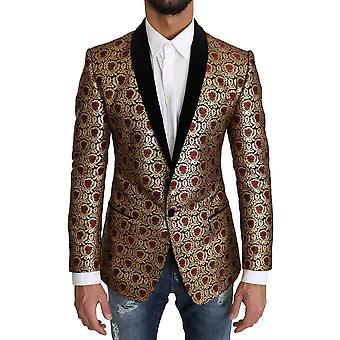 Dolce & Gabbana Blazer Gold Jacquard Floral Pattern Jacket