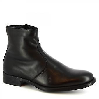 ليوناردو أحذية الرجال & s أحذية الكاحل المصنوعة يدويا الأسود العجل الجلد الجانب إغلاق الرمز البريدي