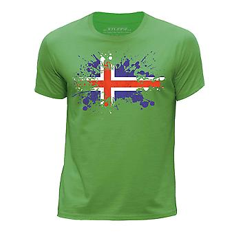 STUFF4 Boy's Round Neck T-Shirt/Iceland/Icelandic Flag Splat/Green