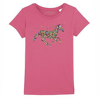 STUFF4 Girl's Round Neck T-Shirt/Rainbow Geometric Unicorn/Dark Pink