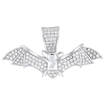Premium Bling-925 ciondolo pipistrello in argento Sterling