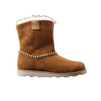 Clarks Crown Piper Toddler Tan Suede Leather Girls Warm Winter Boots