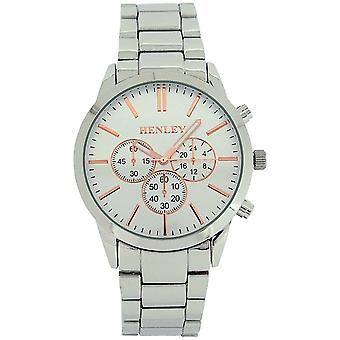 Henley Gents Analogue Large Dial Silver Metal Strap Watch H02091.14
