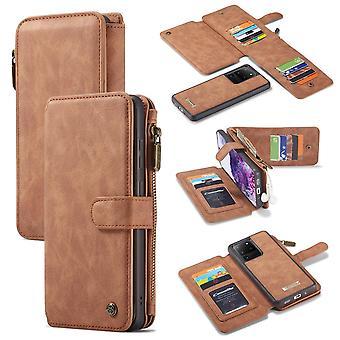 CASEME Samsung Galaxy S20 Ultra retro nahka lompakko tapauksessa - ruskea