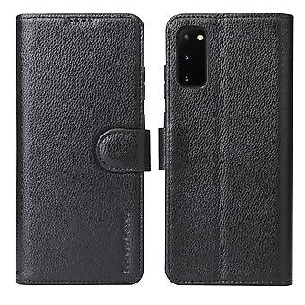 Voor Samsung Galaxy S20 Case iCoverLover Genuine Cow Leather Wallet Cover Zwart