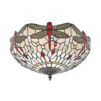 Luminária de teto de descarga luz de estilo Tiffany médio bege dois libélula - interiores 1900 70723