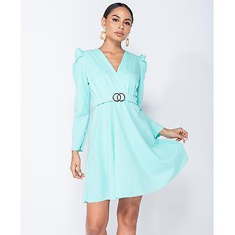 Puffed Sleeve Wrap Front Buckle Detail Mini Dress - - Green