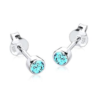 Sterling Silver Cubic Zirconia Unisex Stud Earrings 2 Carat - Turqouise