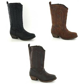 Cutie Childrens Girls Mid-Calf Cowboy Style Boots