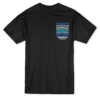 波のどのポケット グラフィック メンズ t シャツをブルーします。