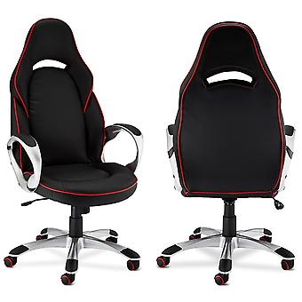 Furnhouse Speedy 1 Office Chair, Black/Red PU, Plastic Base, 70x66x131 cm