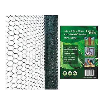 10 m X 0,9 m X 25 mm PVC belagt galvaniseret Wire Netting kylling haven hegn