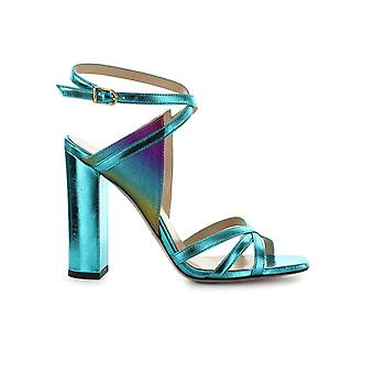 MARC ELLIS LIGHT BLUE MULTICOLORED LEATHER SANDAL