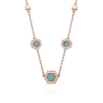 Amazonite Flat Slice Hex Chain Necklace in Rose Gold Plated Sterling Silver 271N014405925