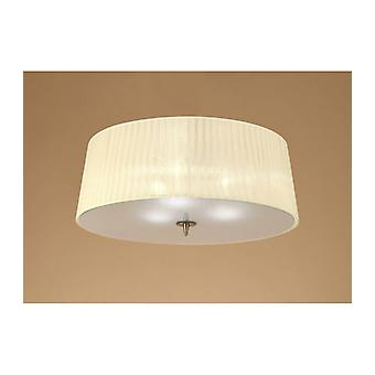 Ceiling Lamp Loewe 3 Bulbs E27, Antique Brass With Cream Shade