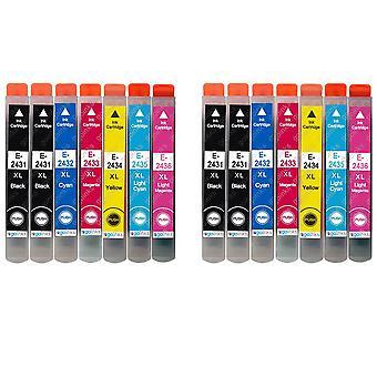2 Juego de 6 + cartuchos de tinta negra adicionales para reemplazar Epson T2438+T2431 (Serie 24XL) Compatible/no OEM de tintas Go (14 tintas)