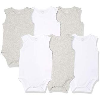 Essentials Baby 6-Pack Sleeveless Bodysuits, Solid White & Heather Gre...