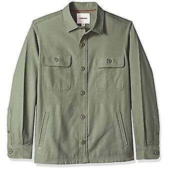 Goodthreads Men's Military Broken Twill Shirt Jacket, -olive, Large Tall