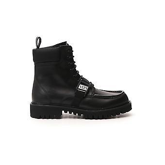 Valentino Garavani Uy2s0d59ybh0no Men's Black Leather Enkellaarsjes