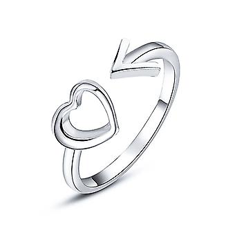 Heart with Arrow Ring - Silver