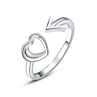 Coração com Anel de Flecha - Prata