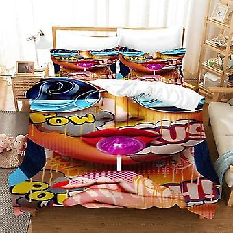 Minimal Art 3d Printing 3 Pce Bedding Sets Cartoon Quilt Cover And Pillowcase