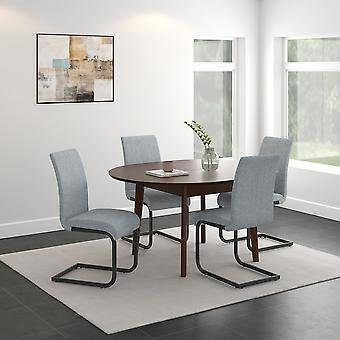 Adelaide/Nathaniel Round 5Pc Dining Set - Walnut Table/Light Grey Chair