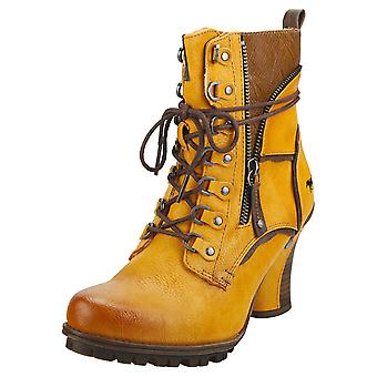 Mustang Side Zip Heel Womens Ankle Boots in Yellow