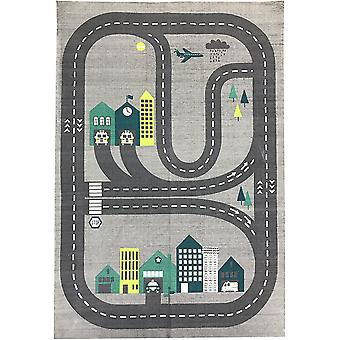 Spura Home Novelty Roadmap Printed Carpet Kids Gray Area Rug 2x4 for Kids Room
