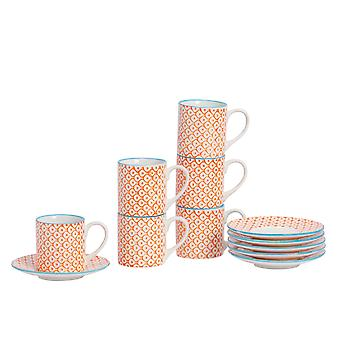 Nicola Spring 12 Piece Hand-Printed Espresso Cup and Saucer Set - Small Japanese Style Porcelain Coffee Cups - Orange - 65ml