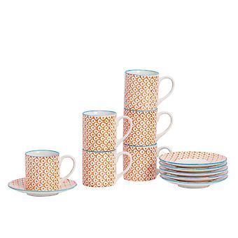 Nicola Spring 12 Peça Estampada à Mão Copo e Conjunto de Pires - Pequenas Xícaras de Café de Porcelana estilo japonês - Laranja - 65ml