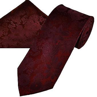 Ties Planet Gold Label Burgundy Self Flower Wzorzyste Męskie i apos;s Silk Tie & Pocket Square Chusteczka Set