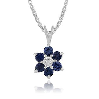 Floral Round Sapphire & Diamond Cluster Pendant Necklace in 9ct White Gold 18887