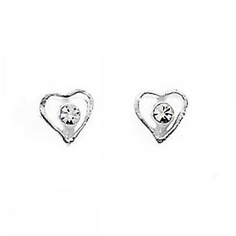 Begyndelser sterling sølv A716C Cryst Cntre åbne hjerte stud øreringe