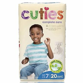First Quality Unisex Baby Diaper Cuties Complete Care Tab Closure Size 7 Disposable Heavy Absorbency, 20 Bags
