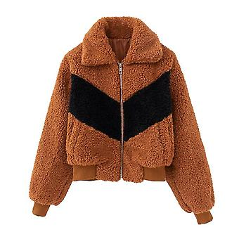 Inverno Nuovo Donna's Agnello Velvet Stitching Giacca Cardigan