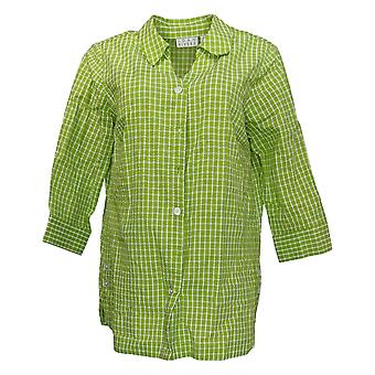Joan Rivers Classics Collection Women's Print Button-Up Shirt Green A377514