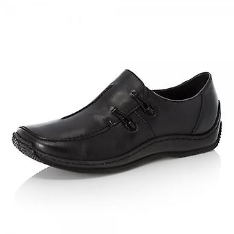 Rieker L1751-00 Casual Slip On Leather Shoes In Black