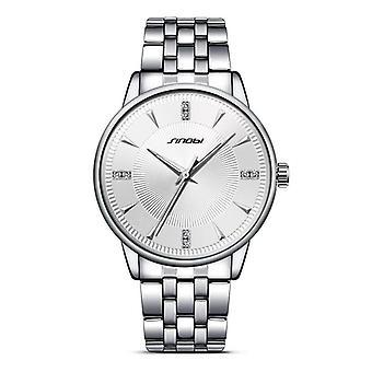 SINOBI 9613 Bracelet en acier inoxydable de luxe Quartz Simple Business Men Watch