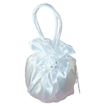 Girls white satin drawstring dolly bag for special occasions