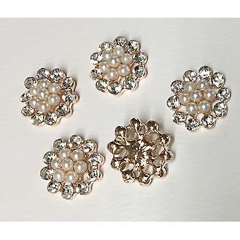 10 ammassi rotondi in oro rosa diamante e perle 23 mm